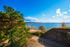 Hösten landskap Berdsk Sibirien, Ryssland Arkivfoto