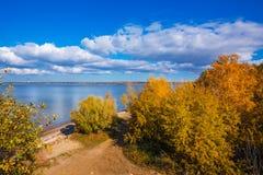 Hösten landskap Ob behållare, Novosibirsk region, Berdsk, Sibe Royaltyfria Bilder