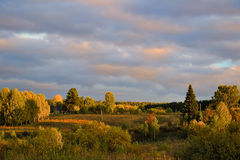 Hösten landskap på solnedgången Royaltyfri Bild