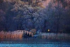 Hösten parkerar med en wood bro royaltyfria bilder