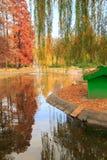 Hösten parkerar sjön med reflexion Royaltyfri Fotografi
