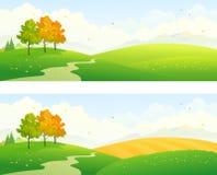 Hösten sätter in panorama- stock illustrationer
