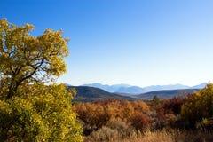 Höstfärger och avlägsna berg på den svarta kanjonen av den Gunnison nationalparken arkivbilder