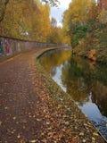 Höstfärger på den birmingham kanalen arkivbilder