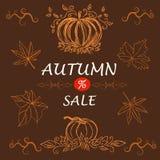 Höstförsäljningsmall, baner, vektorillustration Royaltyfri Fotografi