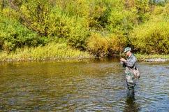 Höstfiske på en liten flod fotografering för bildbyråer