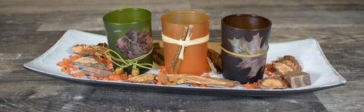 Höstgarnering, tealighthållare på träbunken Royaltyfria Foton