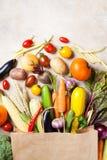 Höstgrönsaker, i att shoppa bästa sikt för pappers- påse royaltyfri fotografi