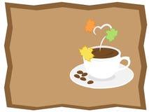 Höstkaffe i säsongsbetonad ram Arkivbild