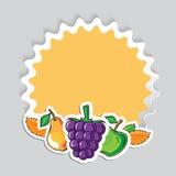 Höstklistermärke med frukter Royaltyfria Bilder