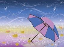 Höstkort med paraplyet Arkivfoto