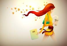 Höstkvinna med henne kaffe som går stock illustrationer