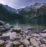 Höstlandskap av en sjö för högt berg med en anka royaltyfri foto
