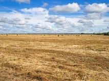 Höstlandskap av fältet med baler av hö Arkivfoton