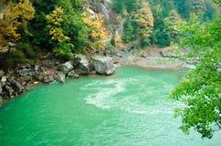 Höstlandskap av floden i skog Arkivbilder