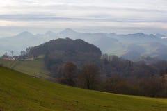 Höstlandskap i det Jura Mountains området Fotografering för Bildbyråer