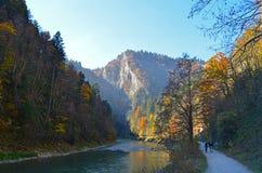 Höstlandskap inklusive den Dunajec floden i den Pieniny nationalparken, Slovakien royaltyfria bilder