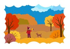 Höstlandskap med en flicka, en hund och sidor royaltyfri illustrationer