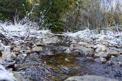 Höstlandskap med floden i frostig dag Arkivbilder