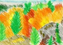 Höstlandskap med ljusa kulöra träd Författarens arbete Arkivbild