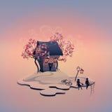 Höstlandskap med tegelstenhuset på ön stock illustrationer