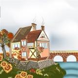 Höstlandskap med vektorlandshuset och träd Royaltyfri Fotografi