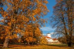 Höstlandskapet, slott parkerar Budatin närliggande Zilina, Slovakien arkivfoto