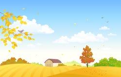 Höstlantgårdfält royaltyfri illustrationer