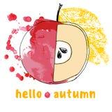 Höstlig abstrakt bakgrund för vattenfärg med äpplet, hälsninghöst Arkivbilder