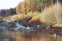 Höstlig panorama (sikt) av Sofiivka parkerar Arkivbilder