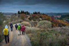 Höstlig trekking i landskapet av Siena, från Buonconvento till Arkivbild