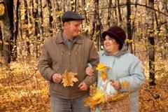 höstliga den gammala skogmannen går kvinnan Royaltyfri Foto