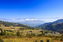 Höstliggande på riceterrasser Arkivfoton