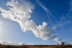 Höstmolnbildande mot blå himmel över Cannock jakt Royaltyfri Foto