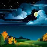 Höstnatt med moonen och trees Arkivbilder