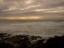 Höstnedgångplats på havet Arkivbild