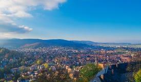 Höstpanorama i staden Wernigerode Royaltyfri Foto