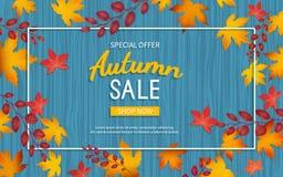 Höstrabattreklamblad Specialt erbjudande, stor säsongsbetonad försäljning, stora rabatter Horisontalbaner med gula och röda sidor stock illustrationer