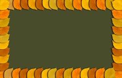 Höstramen med höst färgade sidor på gränsen och copyspacen Royaltyfri Fotografi