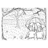 höstregn Vektor Illustrationer