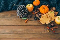 Höstsammansättning över träbakgrund Äpplen, pumpa och sidor royaltyfria foton