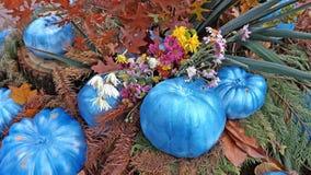 Höstsammansättning av målade pumpor, blommor och sidor Arkivfoto