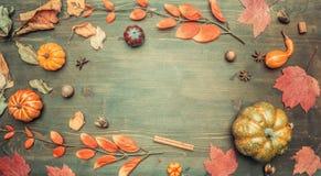 Höstsammansättning, gulingsidor, liten pumparam på träbakgrund, utrymme för den lekmanna- textlägenheten royaltyfria foton