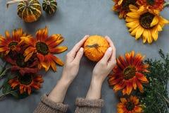 Höstsammansättningsfrukter och grönsaker och blommor Fotografering för Bildbyråer