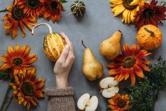 Höstsammansättningsfrukter och grönsaker och blommor Royaltyfri Foto