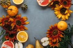 Höstsammansättningsfrukter och grönsaker och blommor Royaltyfria Foton
