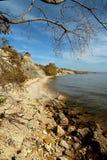 Höstshoreline av en sötvattens- sjö arkivfoton