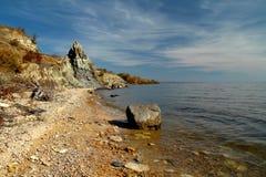 Höstshoreline av en sötvattens- sjö fotografering för bildbyråer