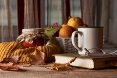 Höstsidor, kopp kaffe, varm halsduk, fruktkorg och bok royaltyfri foto