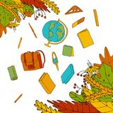 Höstsidor och blommor och skolaobjekt i den drog handen utformar stock illustrationer